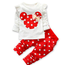 LILIGIRL Baby Girls Sport Clothes Sets for Toddler Cotton Print Mickey T-Shirt+Polka Dot Pants Suit Kids Tops Trousers Cloting