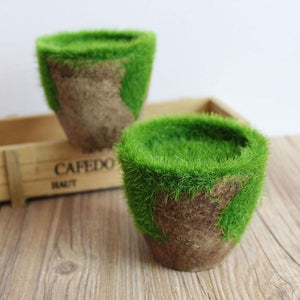 Faux Moss Covered Pot