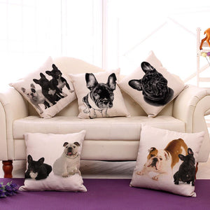 French Bulldog Linen Throw Pillow Cover