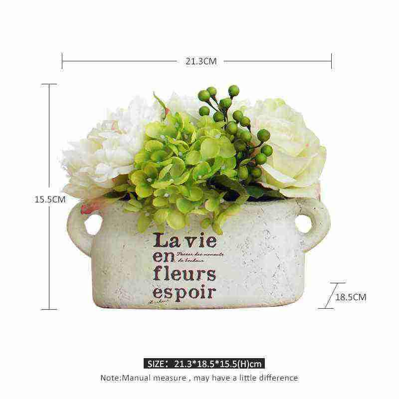White Clay Vintage Planter with Faux Hydrangea