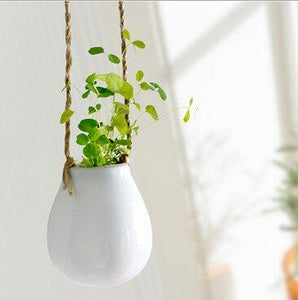 White Modern Ceramic Hanging Planter 2 Pack