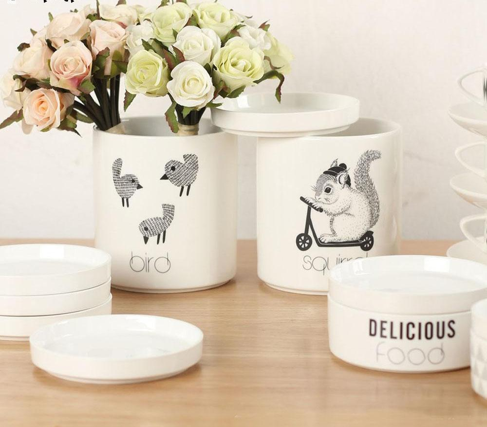 White Ceramic Animal Storage Jar