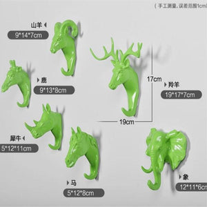 Lime Green Animal Wall Hooks