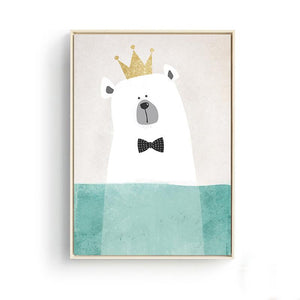 Cute Animals Bear Hippo Penguins Wall Posters