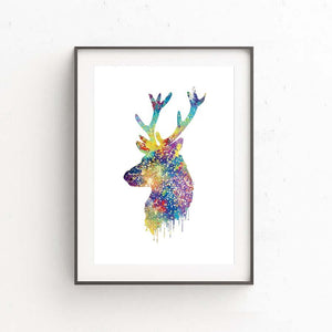 Watercolor Deer Heads