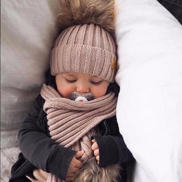 Baby Soft Knit Crochet Fur Ball Hat