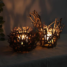 Wooden Bird Nest Candle Holder