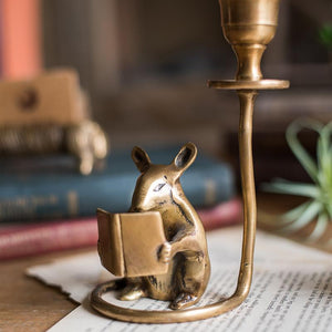 Reading Mouse Brass Candlestick Holder