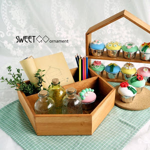 SWEETGO Wood house ornament for cupcake/push cake home decoration Nordic Fores weeding props tools