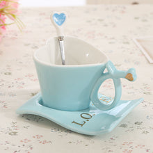 Ceramic Heart Tea Cup and Saucer with Spoon