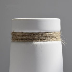 Simple Modern White Hemp Rope Ceramic Vase