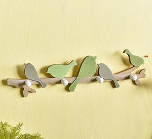 Distressed Painted Wooden Birds on a Branch Wall Hook