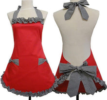 Cute Flirty Vintage Kitchen Apron with Bowknot & Pocket
