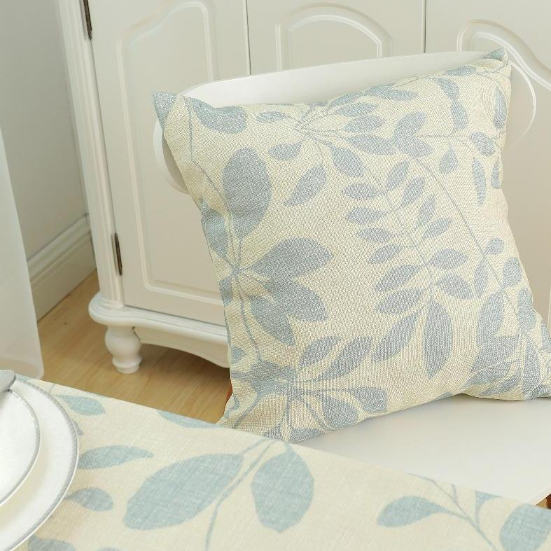 Dusty Blue Leaf Cushion Cover