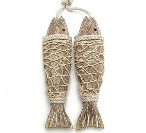 Rustic Hand Carved Hanging Fish Sculptures