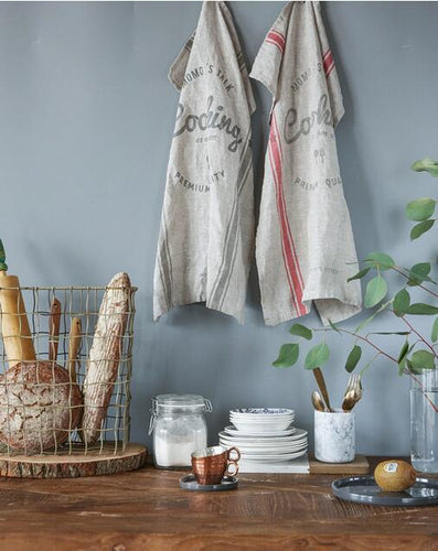 Pure Linen English Striped Tea Towel