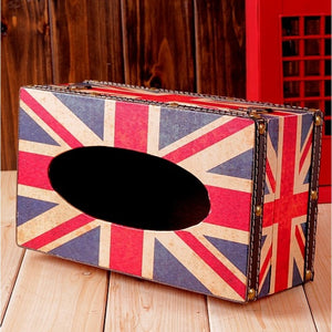Vintage Wooden UK Flag Tissue Box