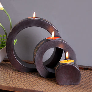 Retro Handmade Wooden Candle Holder