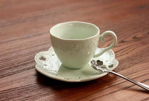 Porcelain Tea Cup with Plate and Spoon