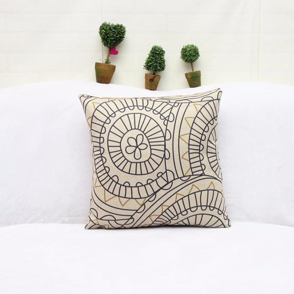 Geometric Linen Cushion Cover