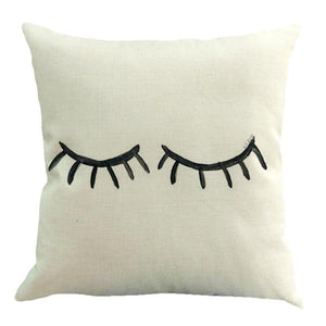 Giant Eyelashes. 100% Cotton/Linen Pillow/Cushion Cover