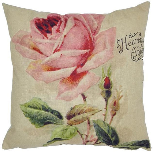Vintage Rose Linen Cushion/Pillow Cover