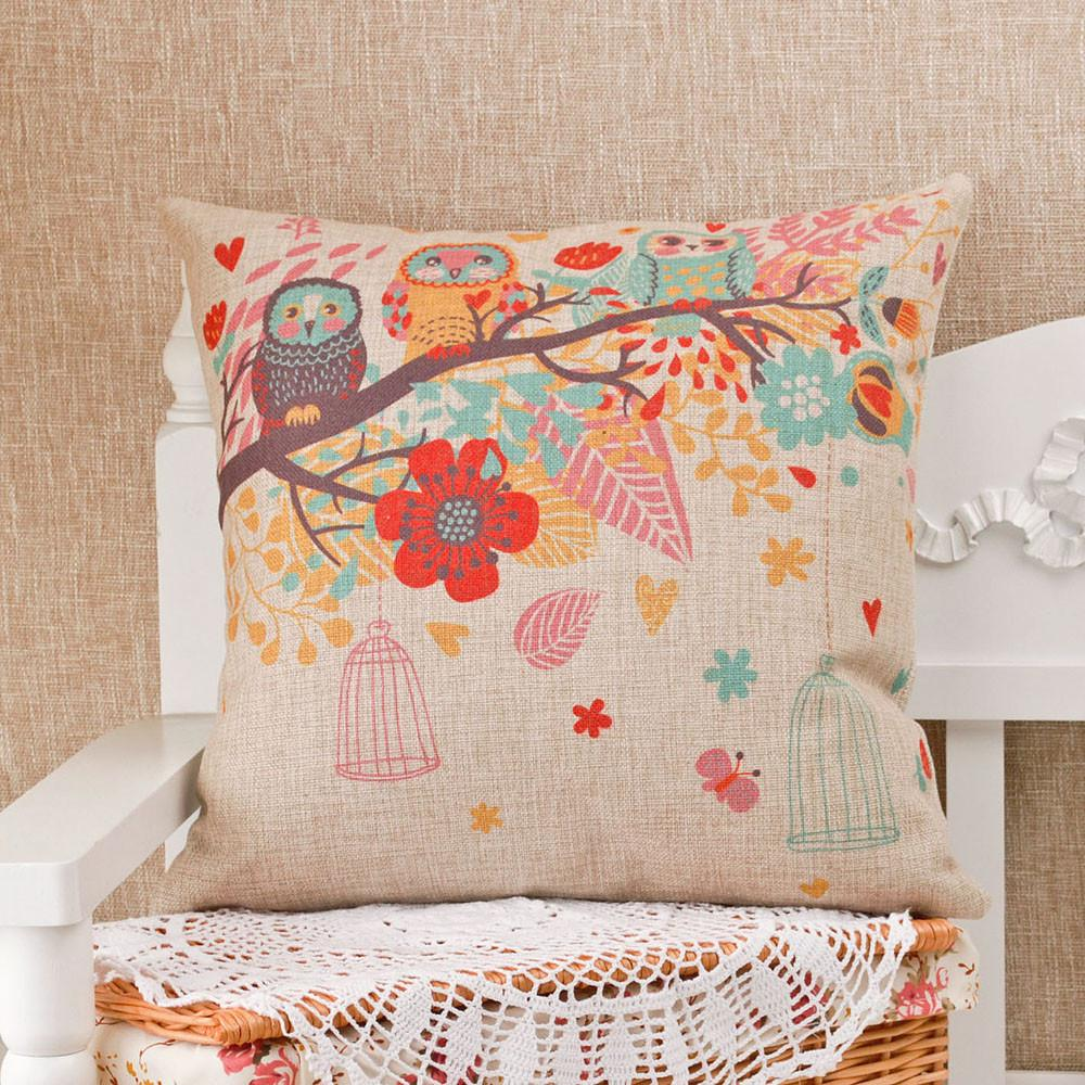 Vintage Owl Cotton Linen Pillow/Cushion