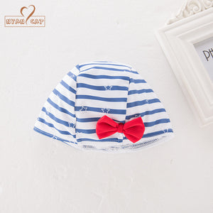 Girls Striped Sailor Swimsuit and Bonnet