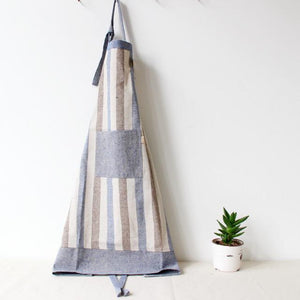 Linen Striped Apron with Pocket