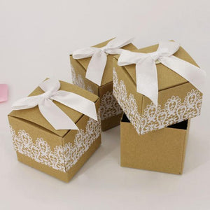 Kraft Paper with Lace Gift Boxes