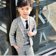 Boys Three-Piece Plaid Suit