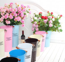 Beautiful Painted Metal Flower Bucket