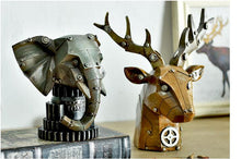 Industrial Machinery Loft Style Resin Deer Head Figurines