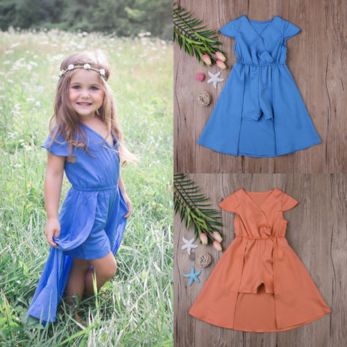 Girls Romper with Flowing Skirt
