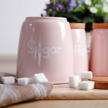 Pink Metal Containers for Tea Coffee and Sugar