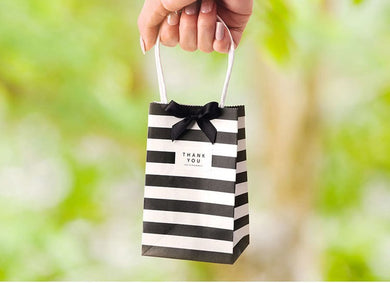 Striped Kraft Paper Gift Bag With Bow