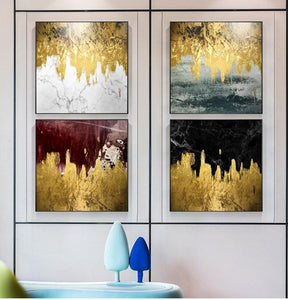 Flowing Gold Paint Canvas