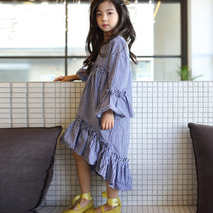 Ruffly Boho Chic Plaid Dress