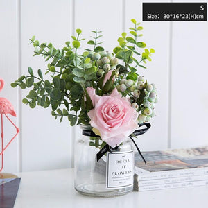 Realistic Faux Roses with Glass Vase