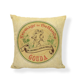 French Country 'Fromage Label' Cushion Cover