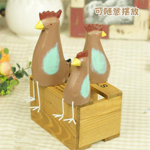 Wooden Colorful Roosters