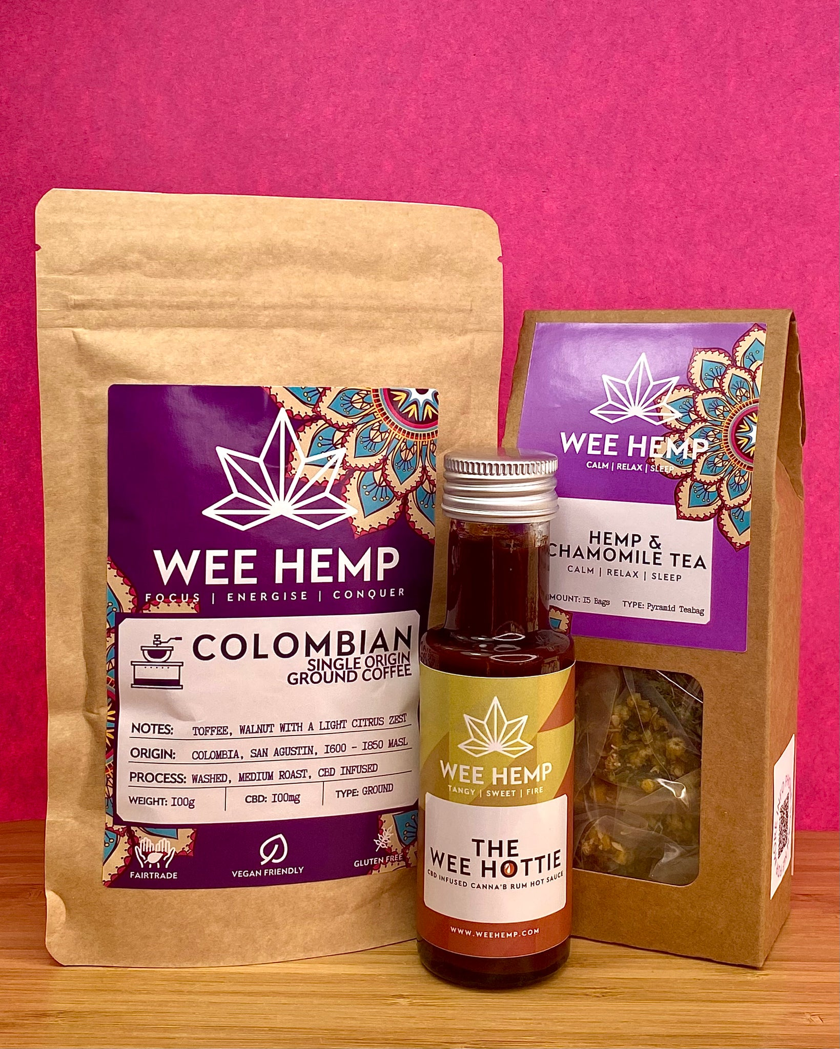 The Wee Christmas Box Set From Wee Hemp - The Wee Hottie - CBD Infused Canna'B Rum Hot Sauce, Ground), Wee Hemp Tea (Your choice of Hemp & Chamomile Tea or Hemp, Green Sencha & Jasmine Tea)
