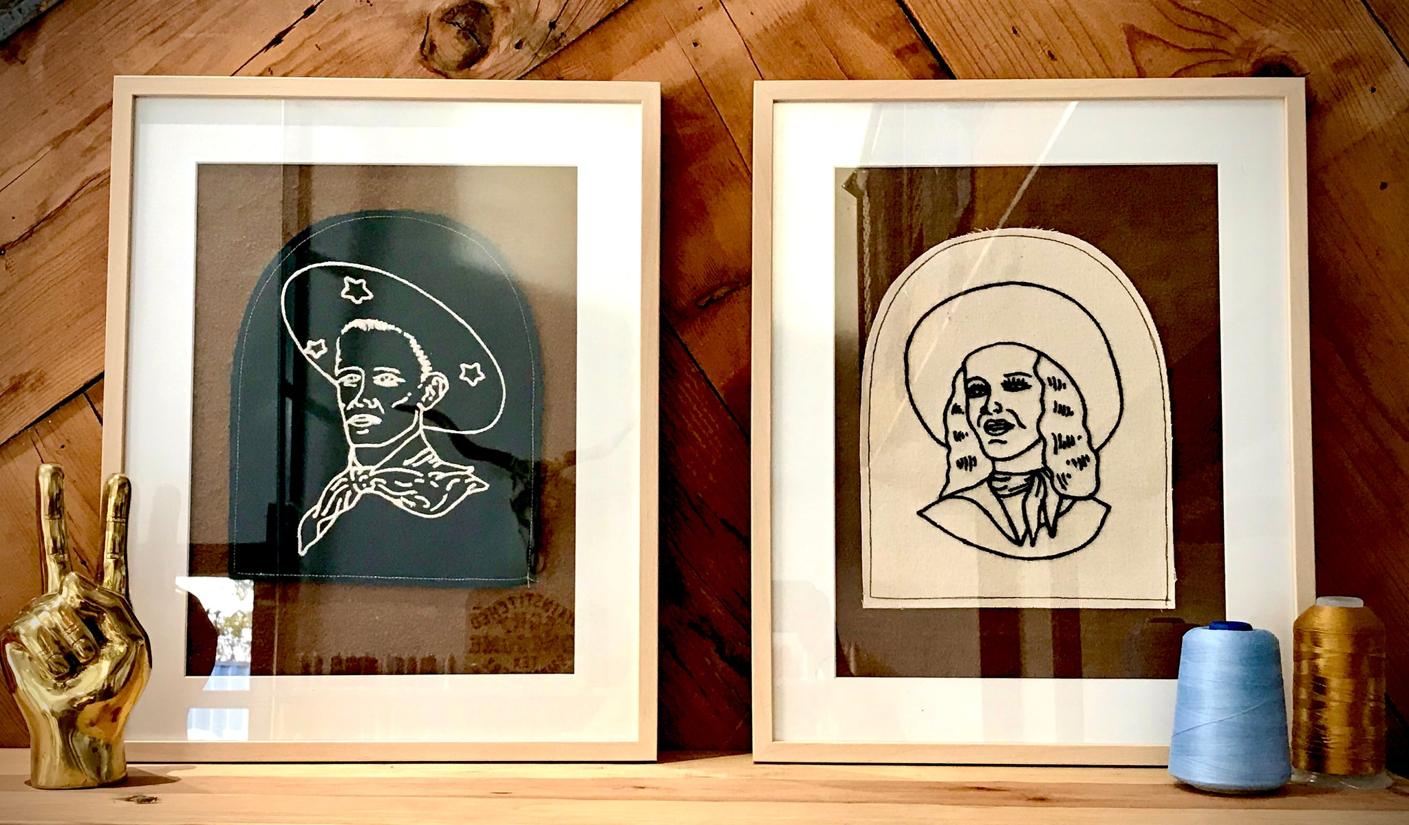 Framed Embroidered Cowgirl and Cowboy Set (LOCAL PICKUP ONLY)