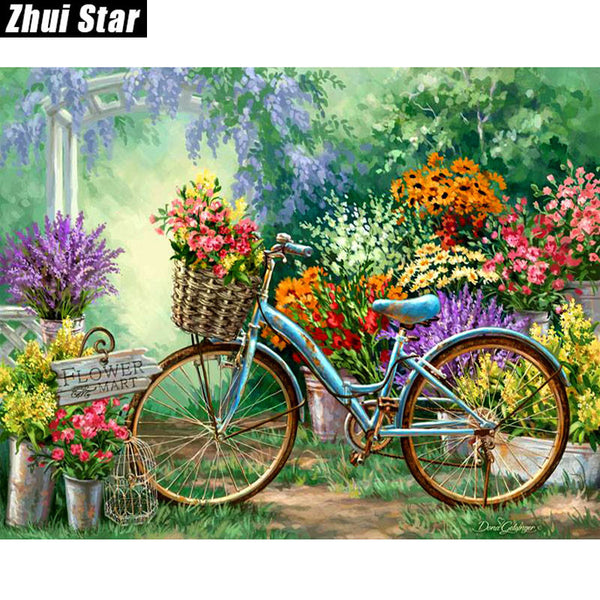 "DIY Diamond Painting - ""Flowers And Bicycles"" - The Dome Inc Diamond Painting"