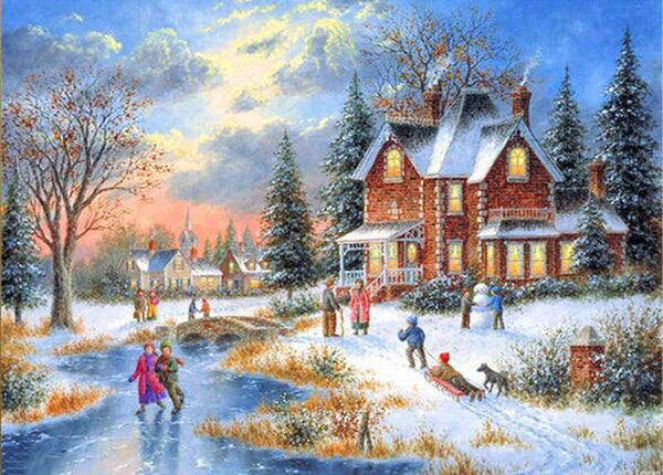 DIY Diamond Painting - Christmas House 32(SQUARE)