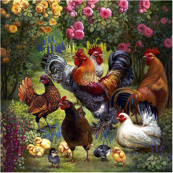 DIY Diamond Painting - Chicken Family - The Dome Inc