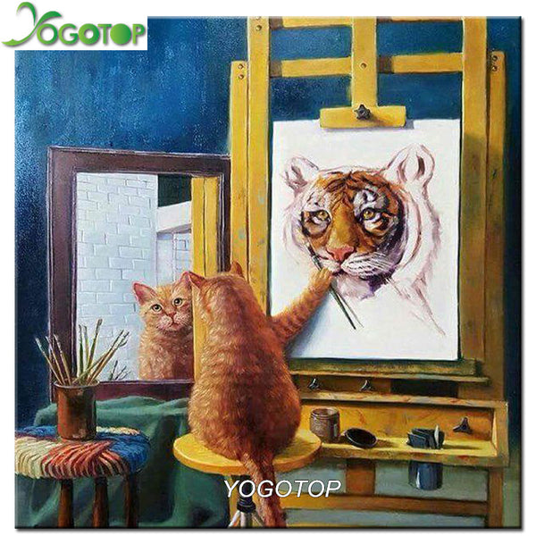 DIY Diamond Painting - Cat Draw Tiger - The Dome Inc
