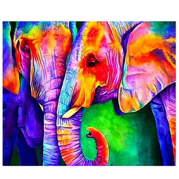 DIY Diamond Painting - Colorful Elephants - The Dome Inc