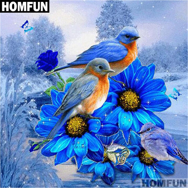 DIY Diamond Painting - Blue flower and Birds