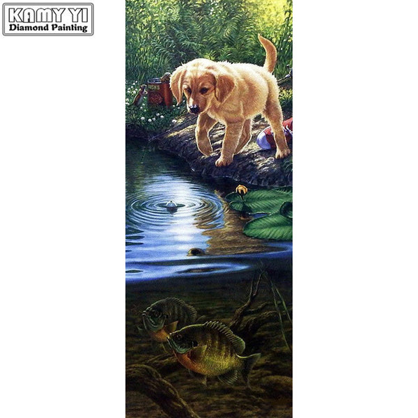 DIY Diamond Painting - Cute Dog near Lake - The Dome Inc